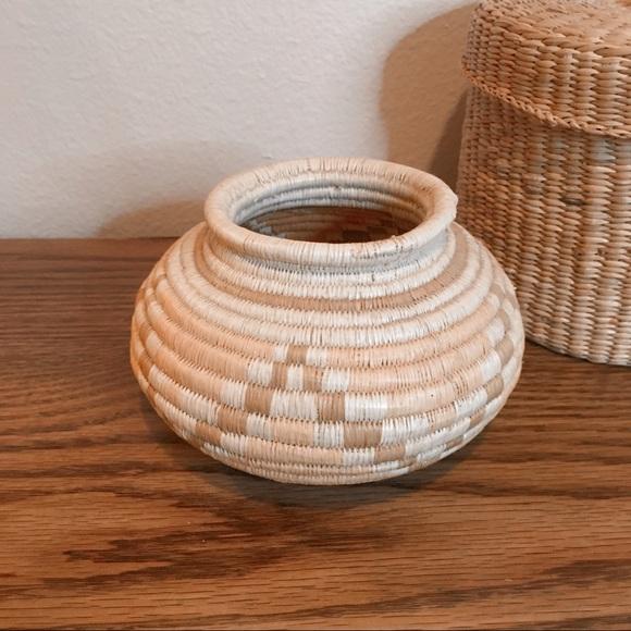 Vintage bohemian basket with pink star pattern